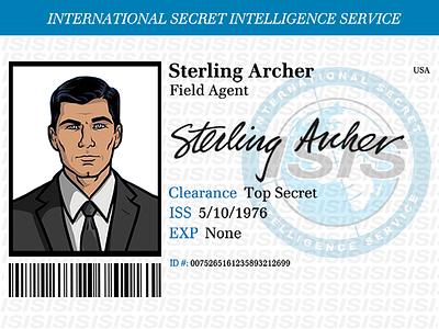 Sterling Archer ID Badge isis archer sterling archer badge id badge spy secret halloween