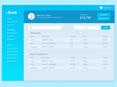 Bank Dashboard - Wireframe layout bank dashboard wireframe ux design blue