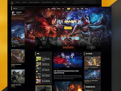 Chaos Defines Us  yellow dark website streams ui gaming game esports design