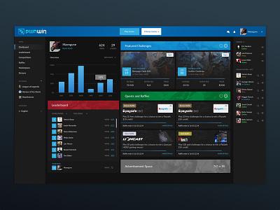 PwnWin: Tournament Platform website tournament ladder blue dashboard gaming esports