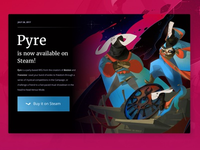 Seek the Mystic Path buy supergiant pyre game dark landing ui design