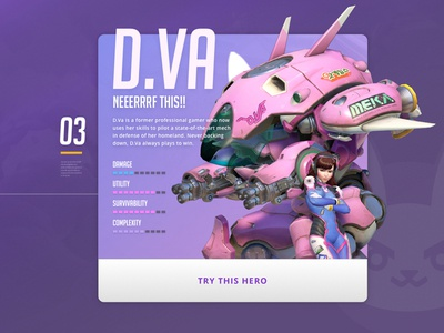 MEKA Pilot d.va ui overwatch heroes of the storm game esports design card purple blizzard