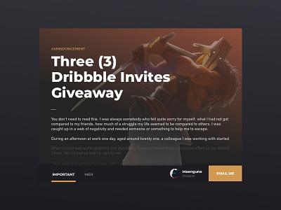[Closed] Three Dribbble Invites card giveaway invitations invites ui game