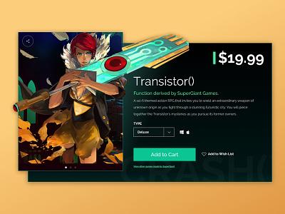 Transistor() ui sketch cart buy black minimal supergiant game transistor
