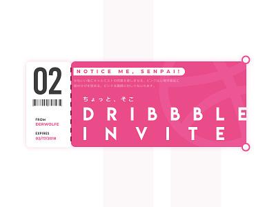 [Closed] Two Dribbble Invites invite dribbble giveaway invitations senpai invites ui card ticket