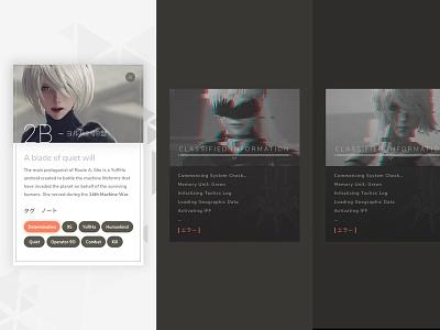 YoRHa (NieR: Automata) glitch nier automata video games light dark ui card profile