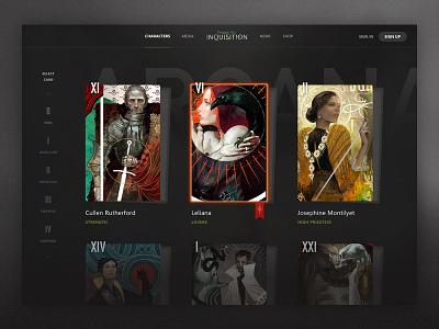 DA:I Tarot Page list character bioware dragon age video game simple design minimal ui