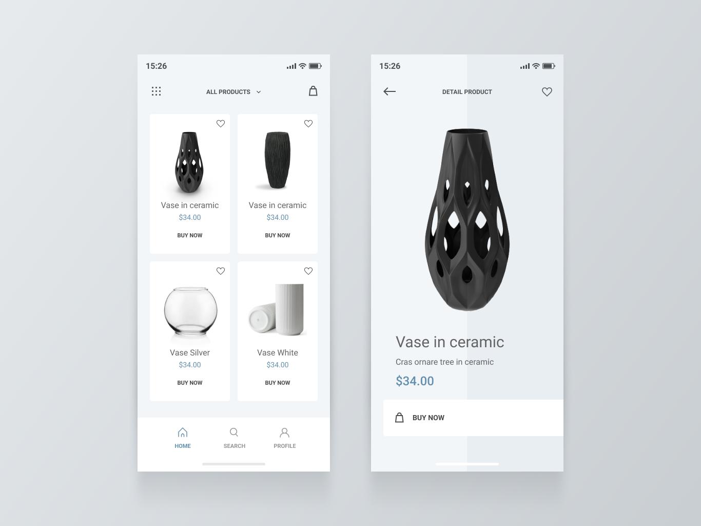 Online store app design ui
