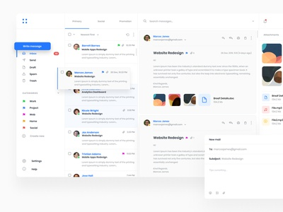 Mail Client web inbox chat ux ui design