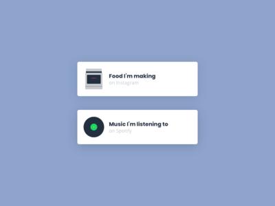 Social Media Links opensans poppins custom card record kitchen baking music cooking instagram spotify media social icon flat portfolio