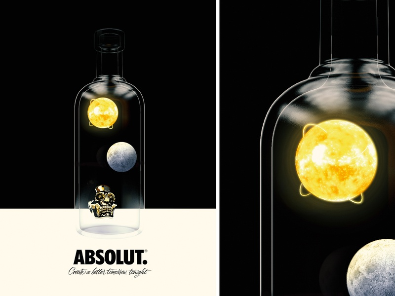 Absolut. Vodka conceptual artwork moon sun skull packagingdesign package vodka absolut