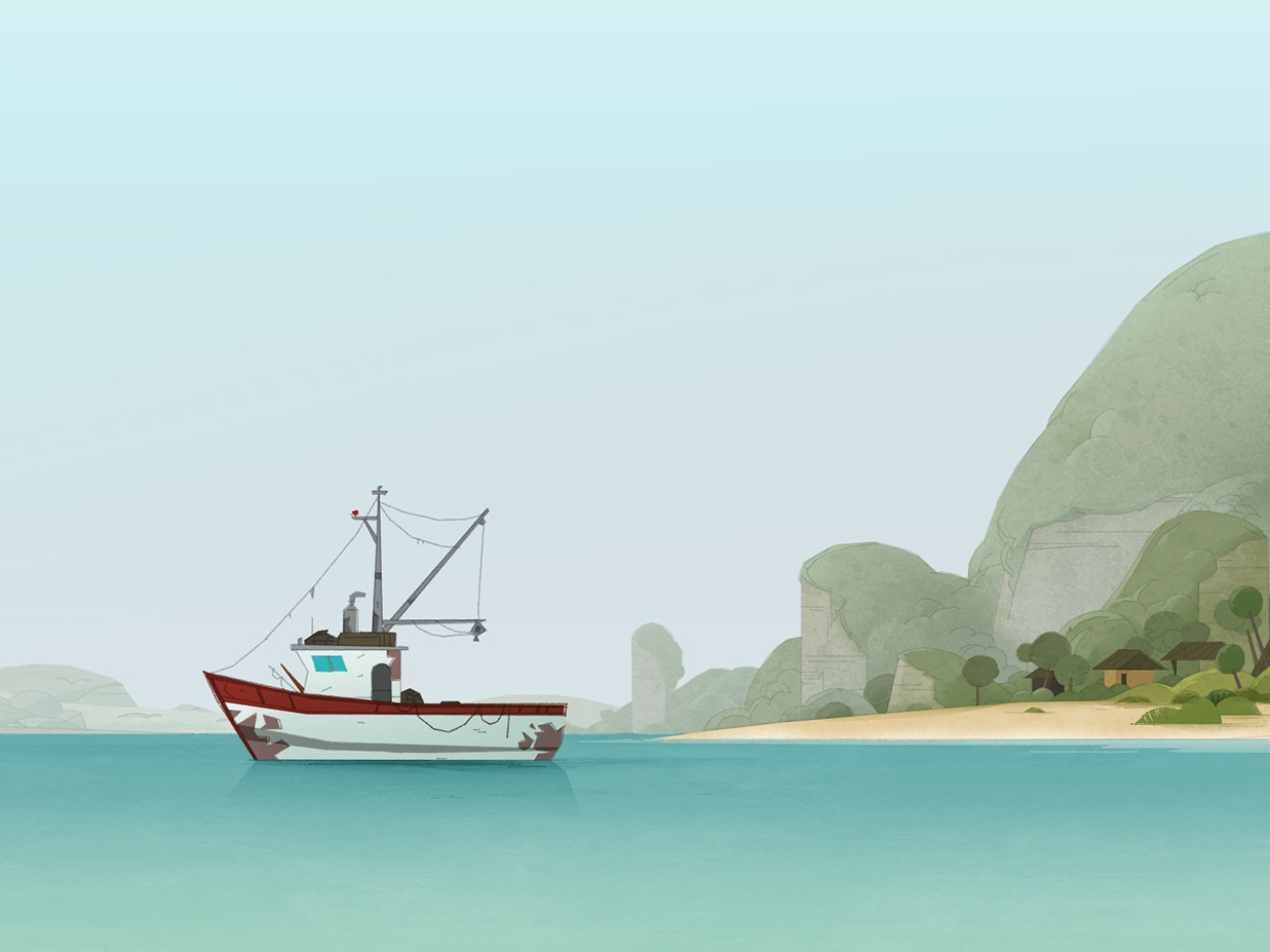 Green Squad lifestyle good fishing boat health environment save squad green series animation ocean sea photoshop island illustration art background