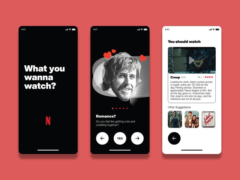Netflix Decision Maker branding animation ante dribble illustration design chill movie app movie netflix ux design ux ui