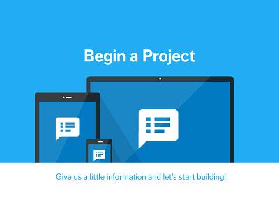 Begin a Project ecommerce laptop tablet mobile illustration flat responsive