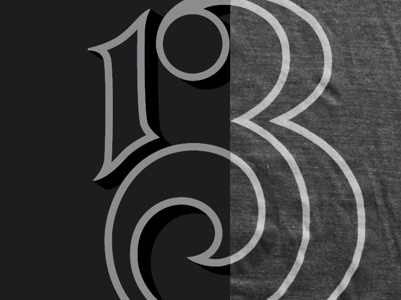 Kneadle's 13th Anniversary shirt hand drawn custom type typography thirteen 13 numbers