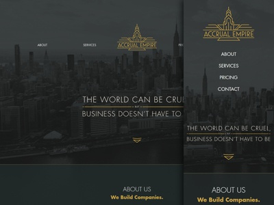 Accrual Empire Website art deco 1920s compare mobile website responsive