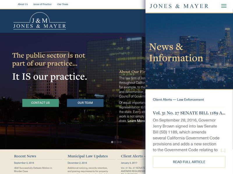 Jones & Mayer mobile news responsive website
