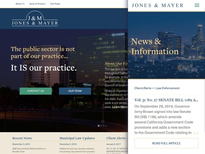 Jones & Mayer mobile news responsive website