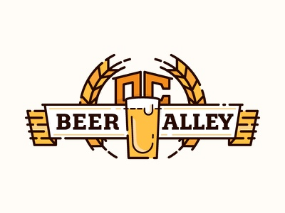 OC Beer Alley badge crest banner identity branding logo event beer festival brewery summer
