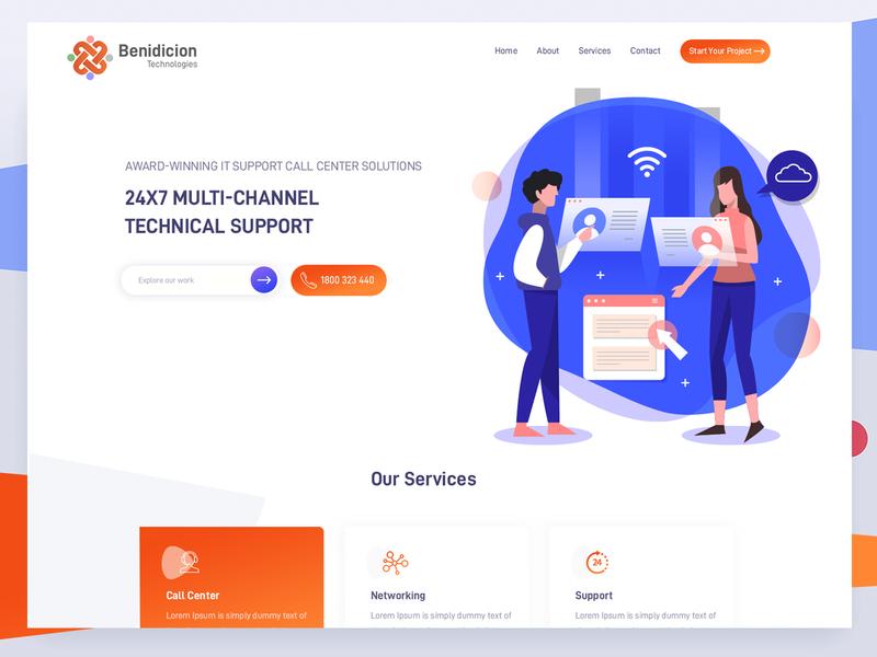 Benidicion Technologies technical support it bpo website design webdesign landingpage illustration ux ui