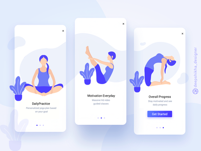 Onboarding screens for Yoga