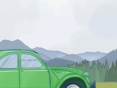 The green 2CV book mountain trip road nature drawing illustration travel 2cv green car vintage old