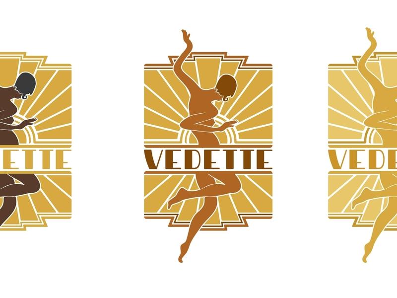 LOGO VEDETTE vintage vibe retro art deco dancer dance vector branding logo drawing dessin illustration