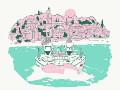 bon baisers de come church water lac montain village bond summer girl boat shore plant vegetal design garden drawing dessin illustration