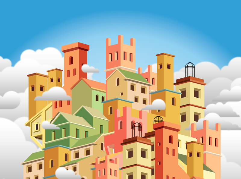 Cloud city home house sky isometric illustrator vector cloud city architecture design dessin drawing illustration
