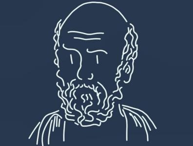 Hippocrate minimalist portrait hyppocrate medecine philosopher philosophy line art drawing dessin illustration
