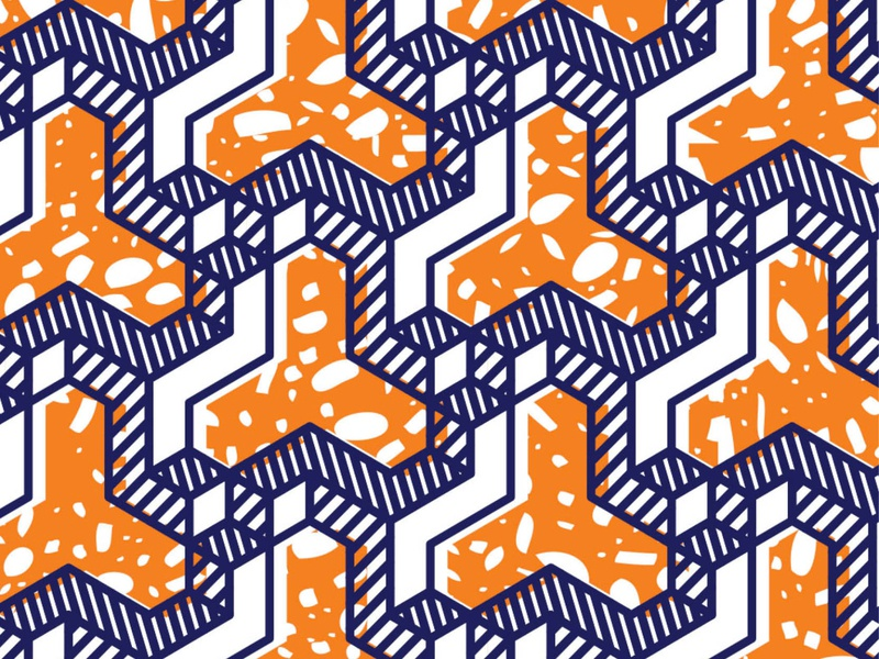 Mokobé illustrator digital design vector orange textile design wallpaper print textile pattern geometic african wax illustration