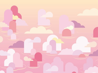 ALONG gradient travel peace vector wallpaper cloud water sunset pink vietnam bay along jungle drawing dessin illustration