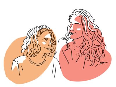 Margot et Marianne vector minimalism minimalist women portrait minimal art illustration dessin