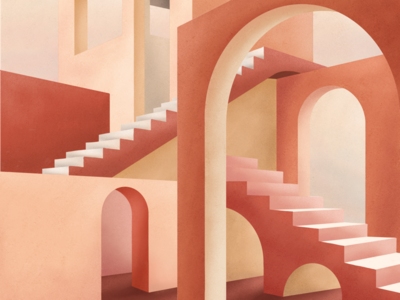 Dédale arch stairs mediterranean warren labyrinth maze red panorama architectural architecture