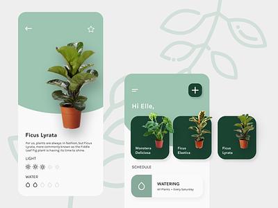 House Plant Management App green house plants houseplants plants mobile ui design app