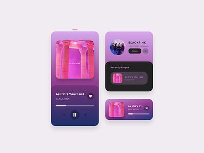Music Player App Design black pink kpop music player music app music dark ux concept app ui design