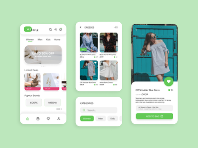 YesStyle Shopping App Redesign yesstyle ecommerce fashion shopping app shopping green concept redesign mobile ux app ui design