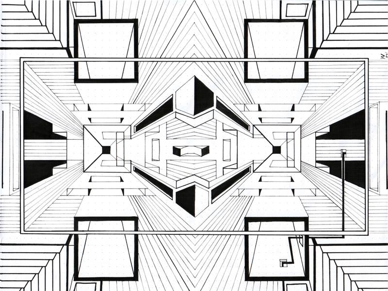 Geometric art ink 3d art dimension black and white illustration escher lines handdrawn geometric art geometric