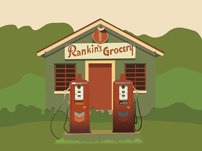Rankin's Grocery gas station illustrator vector design illustration