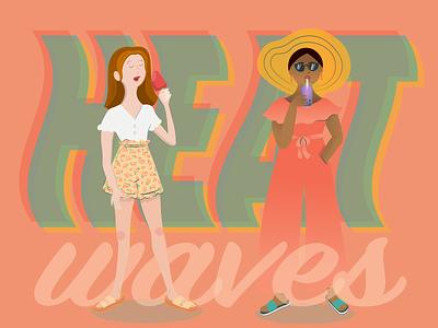 Heat Waves drawing art vector art vector teens trendy summer clothes ice cream bubble tea girls summer heat waves ilustrator illustration
