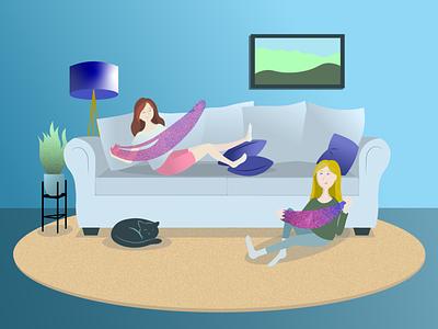 Slime Summer couch adobe illustrator living room vector girls kids slime art illustration