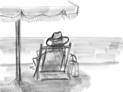 Beach Days umbrella woman beach illustrator vector art illustration