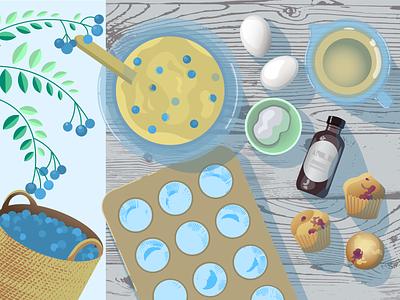 Blueberry Muffins muffins gardening table blueberry baking adobe illustrator vector art illustration