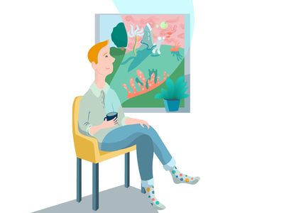 Take Time to Imagine think dream coffee imagination design adobe illustrator vector art illustration