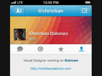 Profile View stream app app.net iphone blue