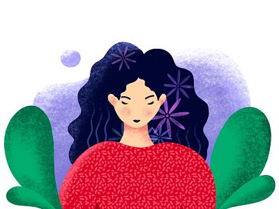 Sad girl illustration with procreate girl sadness love illustraion procreate procreate art girl illustration