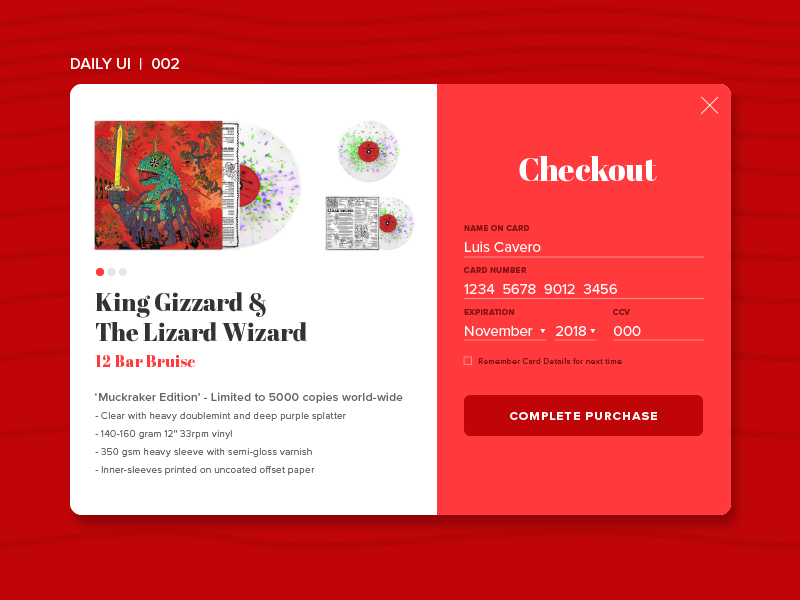 Daily UI | 002 credit card checkout vinyl kgatlw king gizzard ui dailyui daily ui 002