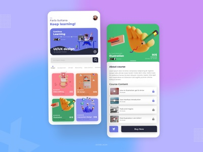 Online Course app minimal app design app web ux ui logodesign creative illustraion branding flat creative design design