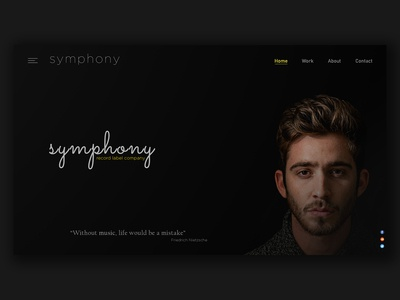 Record label company web ui Home page
