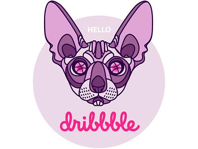 Hello Dribbble! icon design line design line art sphinx flat minimal icon web logo design illustration vector